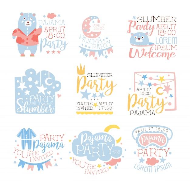 Modelos de convite de festa de pijama feminino azul e rosa conjunto convidando crianças para o pijama de sono cartões de festa do pijama Vetor Premium