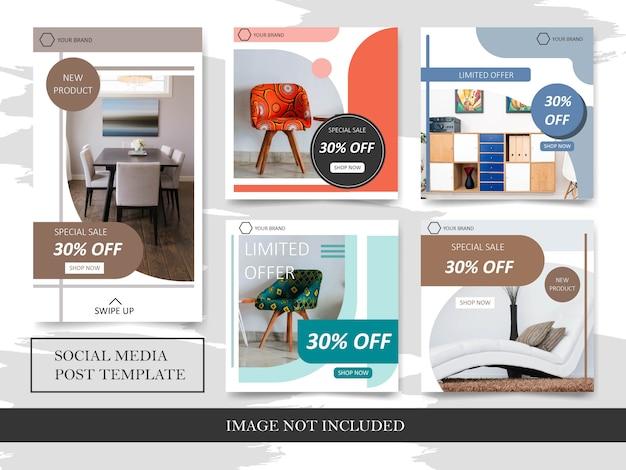 Modelos de desconto de venda de móveis para publicação em mídia social Vetor Premium
