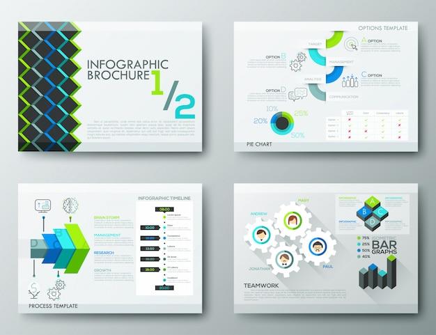 Modelos de design de brochura, elementos de infográfico Vetor Premium