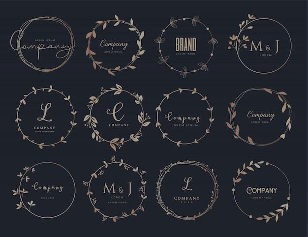 Modelos de design de logotipo e borda floral de vetor mão estilo desenhado. Vetor Premium