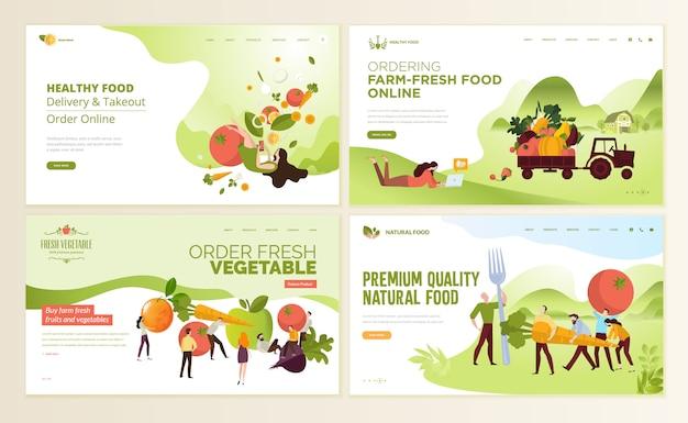 Modelos de design de página da web para comida e bebida Vetor Premium