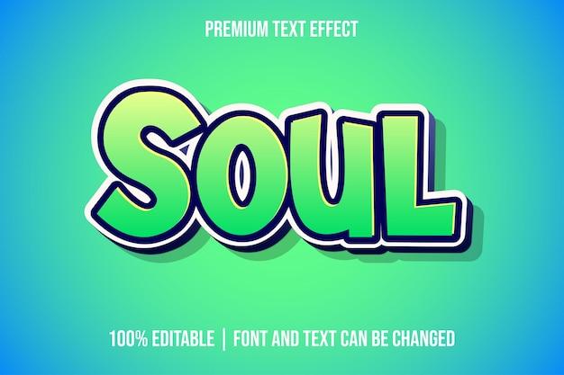 Modelos de efeitos de texto 3d editáveis do soul Vetor Premium