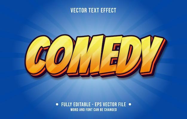 Modelos de efeitos de texto editáveis comédia laranja gradiente cor estilo moderno Vetor Premium