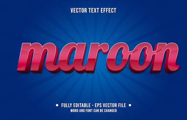 Modelos de efeitos de texto editáveis, cor gradiente marrom vermelho, estilo moderno Vetor Premium