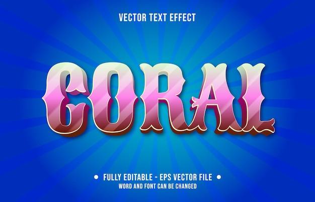 Modelos de efeitos de texto editáveis, cor gradiente rosa coral estilo moderno Vetor Premium