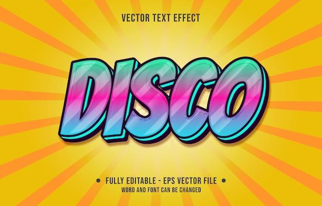 Modelos de efeitos de texto editáveis estilo disco azul rosa gradiente cor moderno Vetor Premium