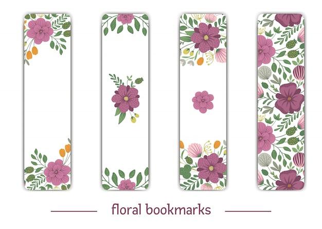 Modelos de favoritos de vetor com elementos florais. ilustração na moda plana com flores, folhas, galhos. prado, bosques, floresta clip-art. modelos de cartão de layout vertical. Vetor Premium
