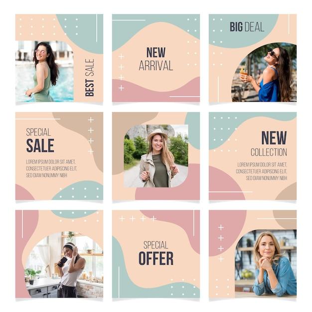 Modelos de feed de quebra-cabeça do instagram Vetor Premium