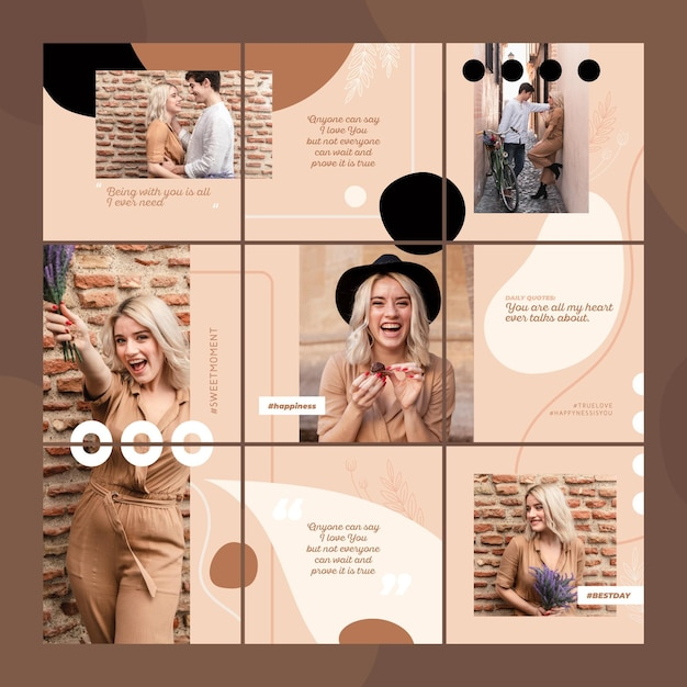 Modelos de feed de quebra-cabeça do instagram Vetor grátis
