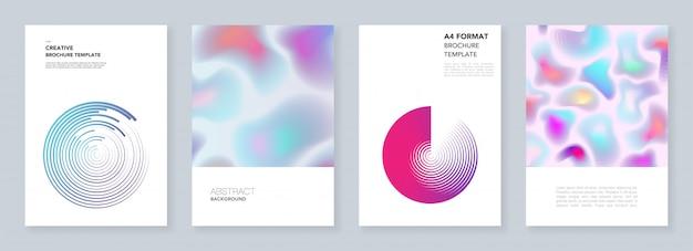 Modelos de folheto mínimos com formas fluidas dinâmicas, círculos coloridos em estilo minimalista. modelos de panfleto, folheto, folheto, relatório, apresentação. mínimo, ilustração. Vetor Premium