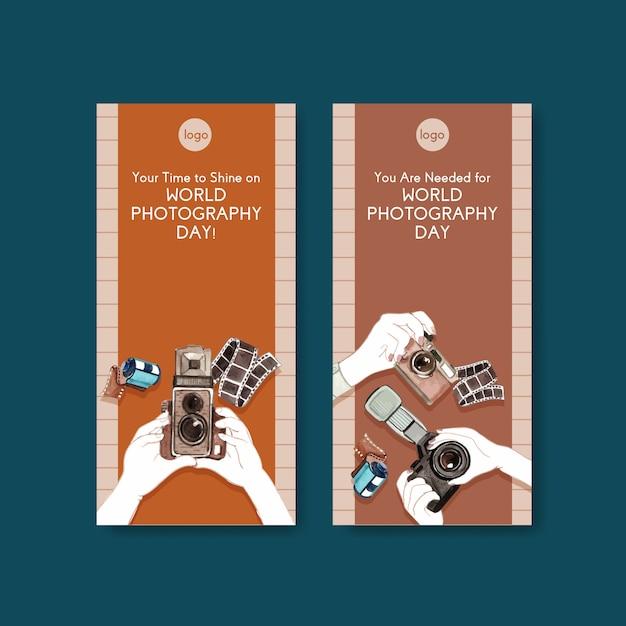 Modelos de folheto para o dia mundial da fotografia Vetor grátis