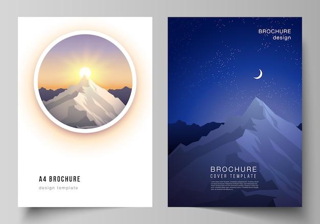 Modelos de folheto, revista, folheto, livreto. fundo do conceito de viagens. Vetor Premium