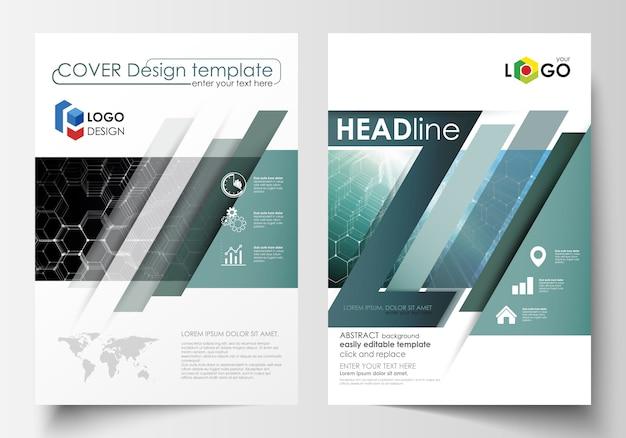 Modelos de folheto, revista, folheto ou relatório. Vetor Premium
