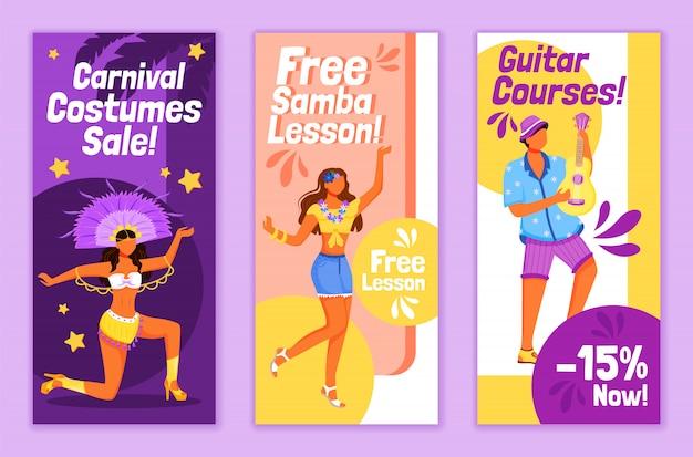 Modelos de folhetos de carnaval brasileiro Vetor Premium