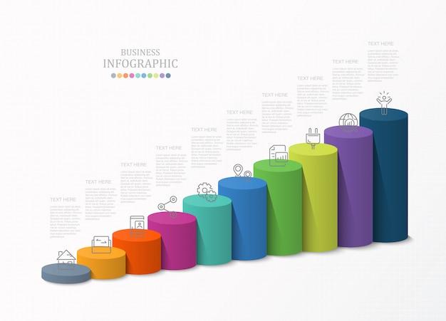 Modelos de gráfico de barras 3d, infográfico para o conceito de negócio. Vetor Premium