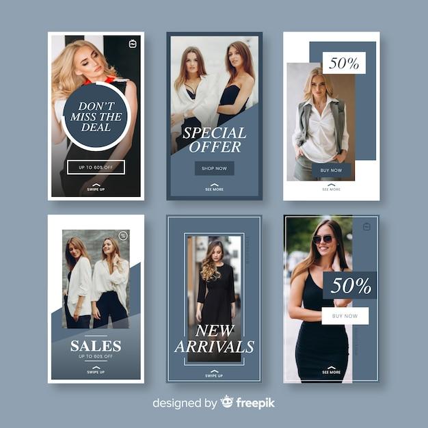 Modelos de histórias de instagram de venda de moda Vetor grátis