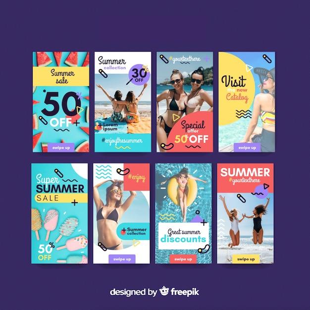 Modelos de histórias do instagram de venda de verão Vetor grátis