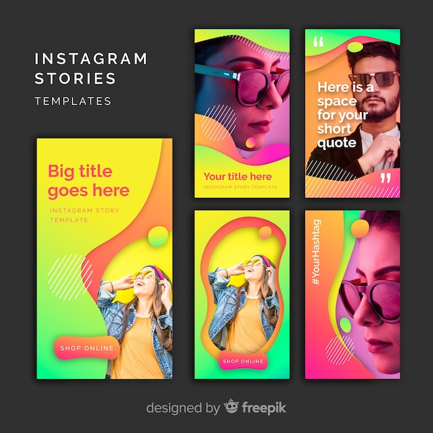 Modelos de histórias do instagram Vetor grátis