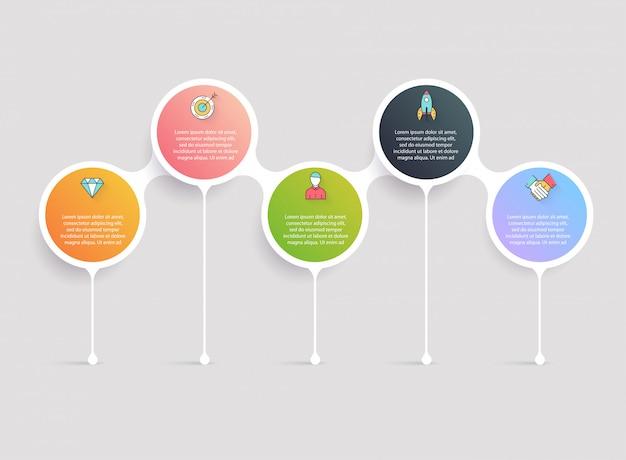 Modelos de infográfico de linha do tempo. gráficos, diagramas e outros elementos para apresentação de dados e estatísticas. Vetor Premium