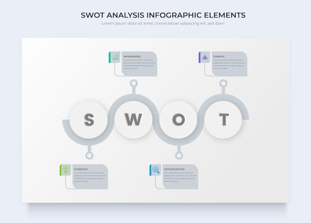 Modelos de infográficos de negócios de análise swot Vetor Premium