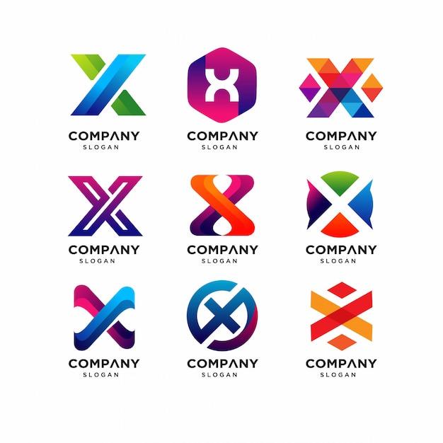 Modelos de letra moderna x logotipo Vetor Premium