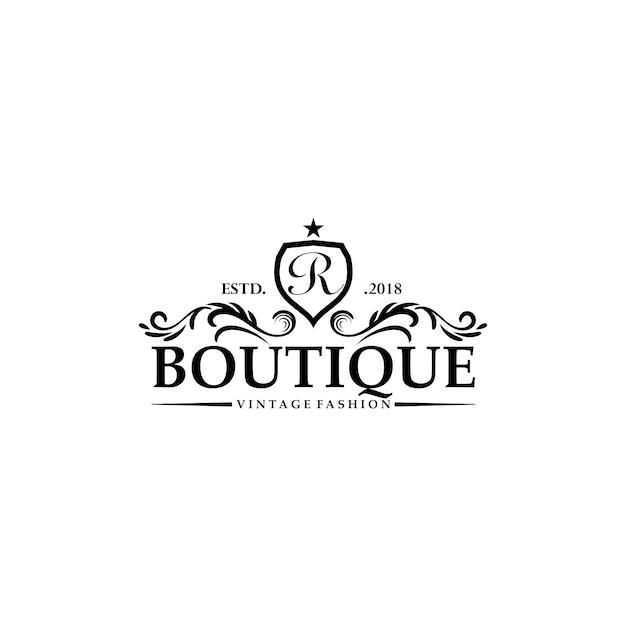 Modelos de logotipo de boutique de luxo Vetor Premium