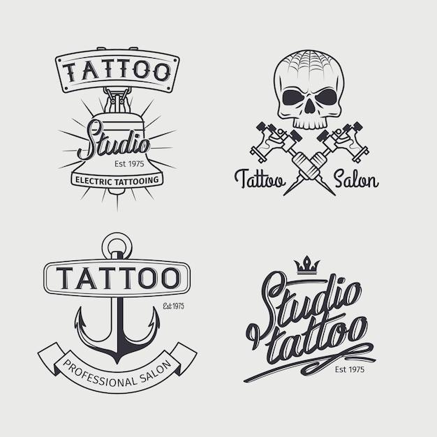 Modelos de logotipo de estúdio de tatuagem Vetor Premium