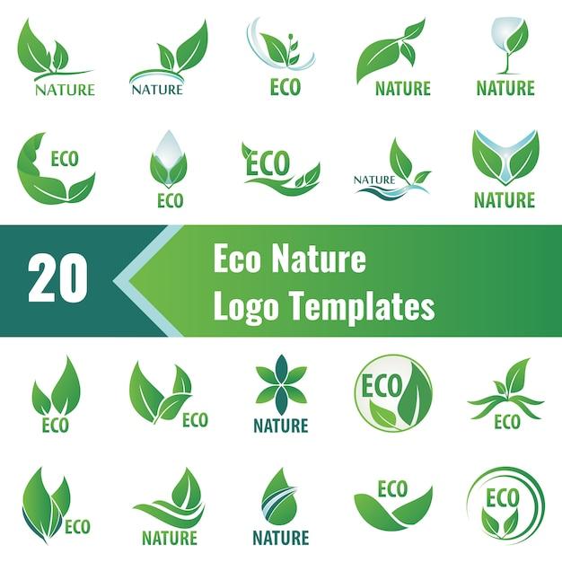 Modelos de logotipo de natureza ecológica Vetor Premium
