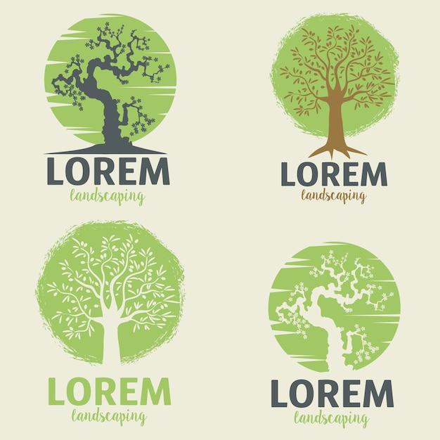 Modelos de logotipo de paisagismo. modelo de sinal de estilo de vida ecológico. Vetor Premium
