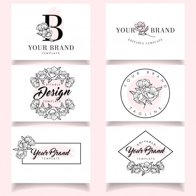 Modelos de logotipo feminino minimalista conjunto com cartão elegante Vetor Premium