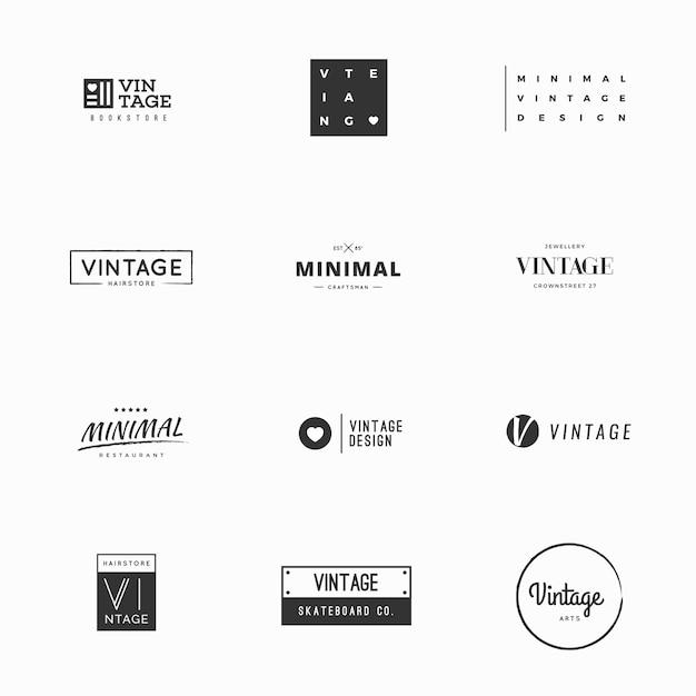 Modelos de logotipo vetorial vintage para design de marca Vetor Premium