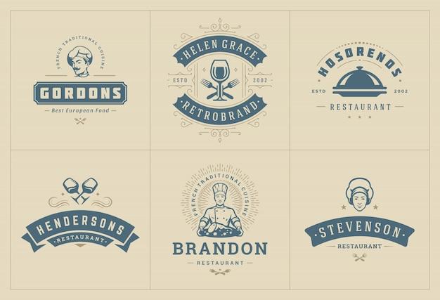 Modelos de logotipos de restaurante definir ilustração boa para etiquetas de menu e café emblemas. Vetor Premium