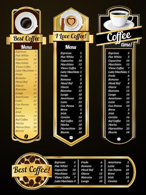 Modelos de menu de café Vetor Premium