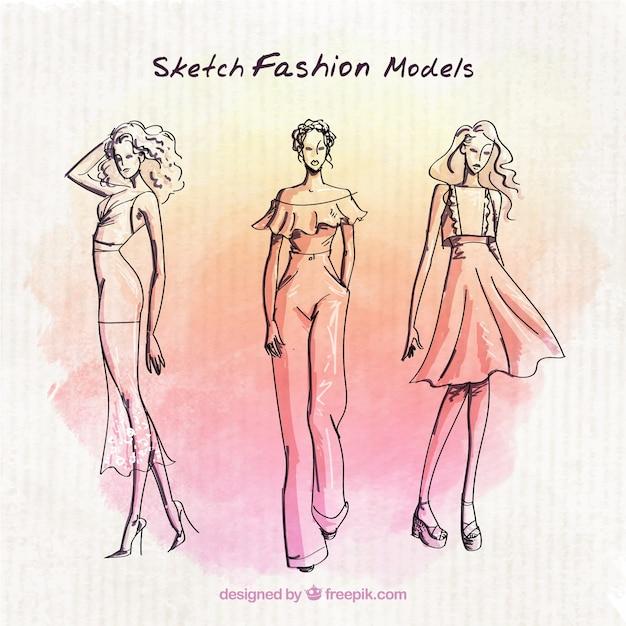 Modelos de moda esboços com fundo da aguarela Vetor grátis