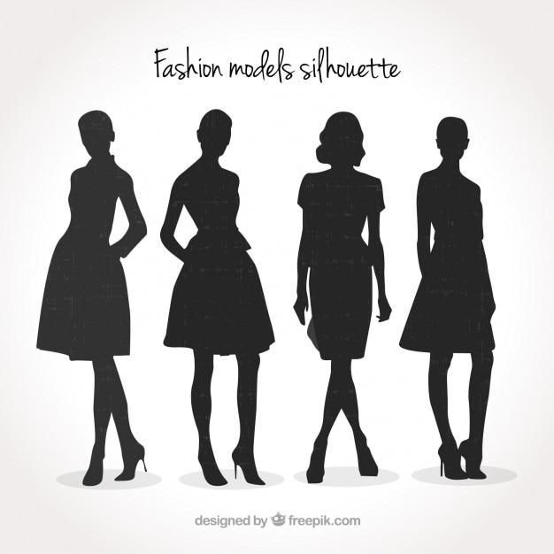 Line Silhouettes In Fashion Design : Modelos de moda pacote silhueta baixar vetores grátis