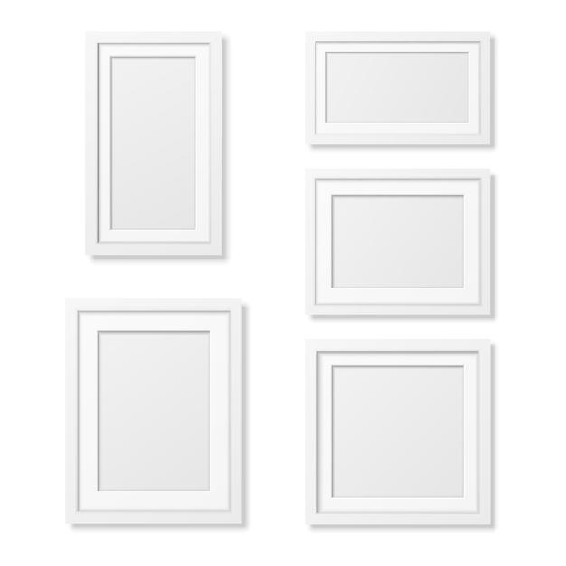 Modelos de moldura de retrato em branco realista em fundo branco. Vetor Premium