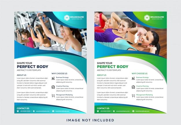 Modelos de negócios criativos: layout, layout de design de capa de folheto panfleto folheto panfleto com forma de onda se colagem de fotos de espaço, modelo em tamanho a4 Vetor Premium