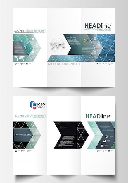 Modelos de negócios de brochura de três dobras em ambos os lados. Vetor Premium