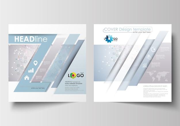Modelos de negócios para brochura de design quadrado Vetor Premium