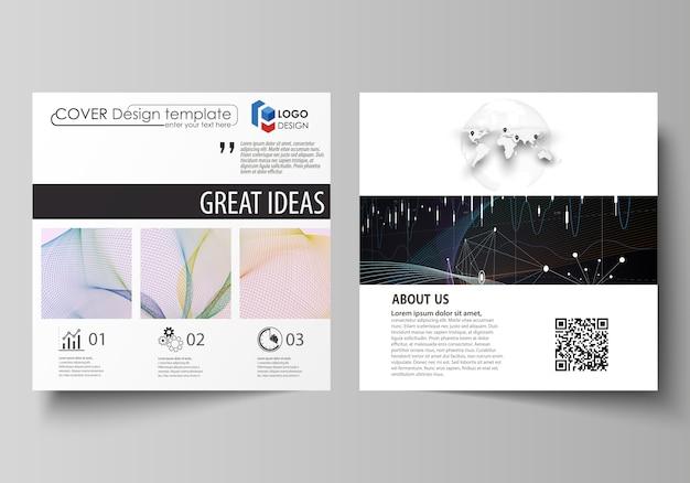 Modelos de negócios para brochura desenho quadrado, panfleto, relatório anual. Vetor Premium