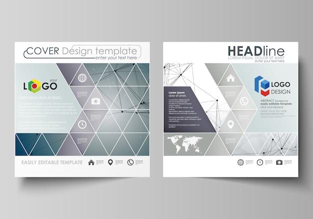 Modelos de negócios para brochura design quadrado, revista, folheto, livreto. Vetor Premium