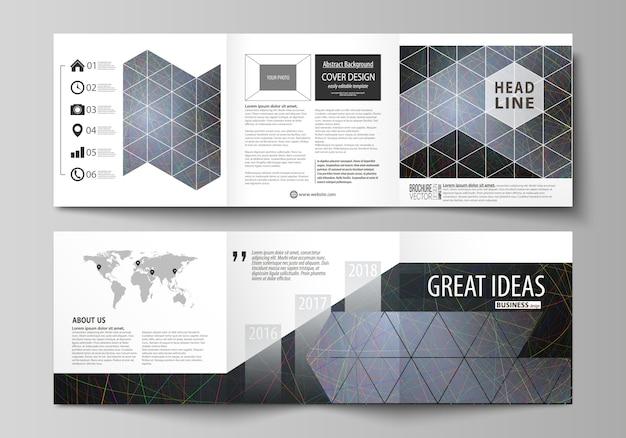 Modelos de negócios para brochuras de design quadrado tri dobra Vetor Premium