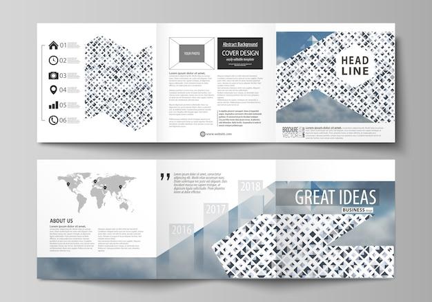 Modelos de negócios para brochuras quadradas de três dobras Vetor Premium
