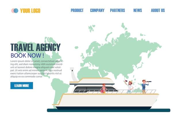 Modelos de página da web de design plano de agência de viagens Vetor Premium