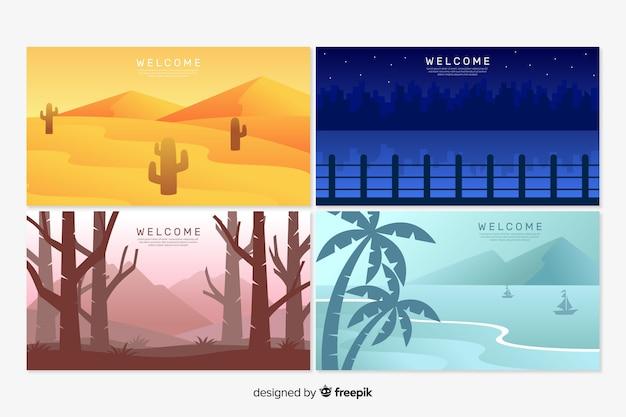 Modelos de página de destino de boas-vindas com paisagem Vetor grátis