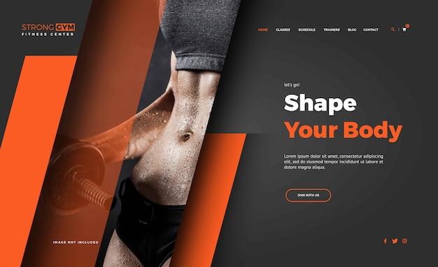 Modelos de página de destino de mulher fitness Vetor Premium
