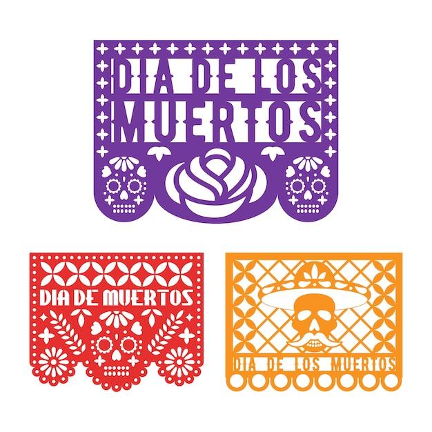 Modelos de papel picado para o dia mexicano dos mortos. Vetor Premium