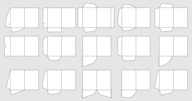 Modelos de pastas de bolso de papéis. modelo de corte de pastas de documentos, conjunto de pastas de papel Vetor Premium