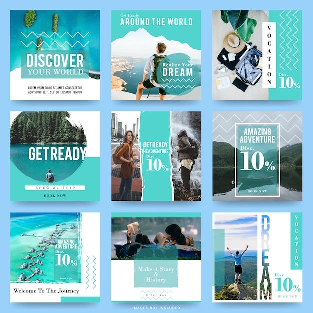 Modelos de postagem de mídia social para viagens Vetor Premium