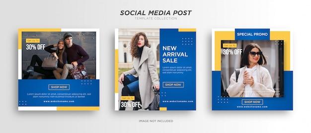 Modelos de postagem em mídia social azul com amarelo minimalista Vetor Premium